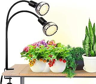 Bozily - Grow Light LED 300W Full Spectrum Lámpara Cultivo de Plantas Interior Crecimiento con 4 Brillo Regulable, 2 Bombillas Reemplazables E27 / E26 Bulb, para Plántulas Florecimiento Frutas