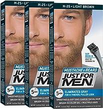JUST FOR MEN Brush-In Color Gel, Mustache & Beard M-25 Light Brown 1 Each (Pack of 3)