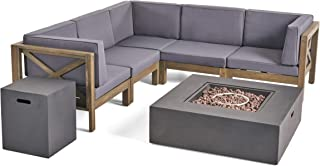 Kaylee Outdoor Acacia Wood 5 Seater Sectional Sofa Set with Fire Pit, Gray and Dark Gray