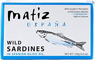 Matiz Sardines in Olive Oil, 4.2 Ounce Can (Pack of 5) Spanish Gourmet Wild Caught Natural Fish for Tapas, Snacks, or Meals, Protein Rich, Sealed Freshness