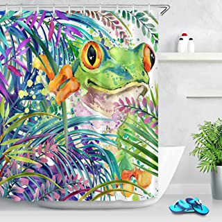 LB Watercolor Tree Frog in Tropical Jungle Shower Curtains for Shower Stall, Frog Print Bathroom Decor Curtain, 70x70 Shower Window Curtain Waterproof