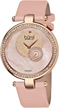 Burgi Women's Dazzling Diamond Watch - Crystals All Around Bezel On Mother-of-Pearl Dial and Subdial On Genuine Leather Strap - BUR042