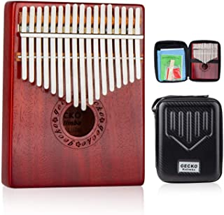 $47 Get GECKO Kalimba 17 Keys Wide Key Thumb Piano builts-in EVA high-Performance Protective Box, Tuning Hammer and Study Instruction.K17MA