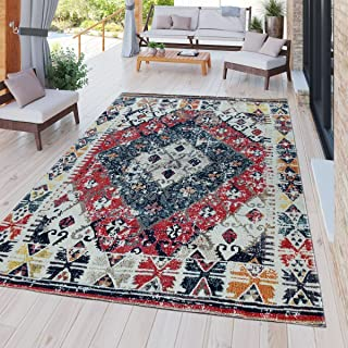 Paco Home Modern Outdoor Rug Weatherproof for Indoors and Outdoors Nomad Design Multicolor, Size:5'3