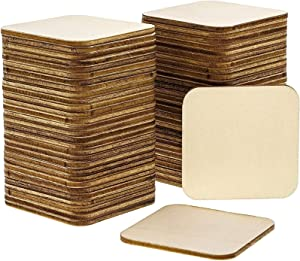 Wooden Cutouts for Crafts, Rounded Square (2 x 2 In, 60 Pieces)