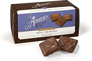 Asher's Chocolate, Gourmet Chocolate Covered Mini Grahams, Small Batches of Kosher Chocolate, Family Owned Since 1892, Snack Size Box (6 oz, Milk Chocolate)
