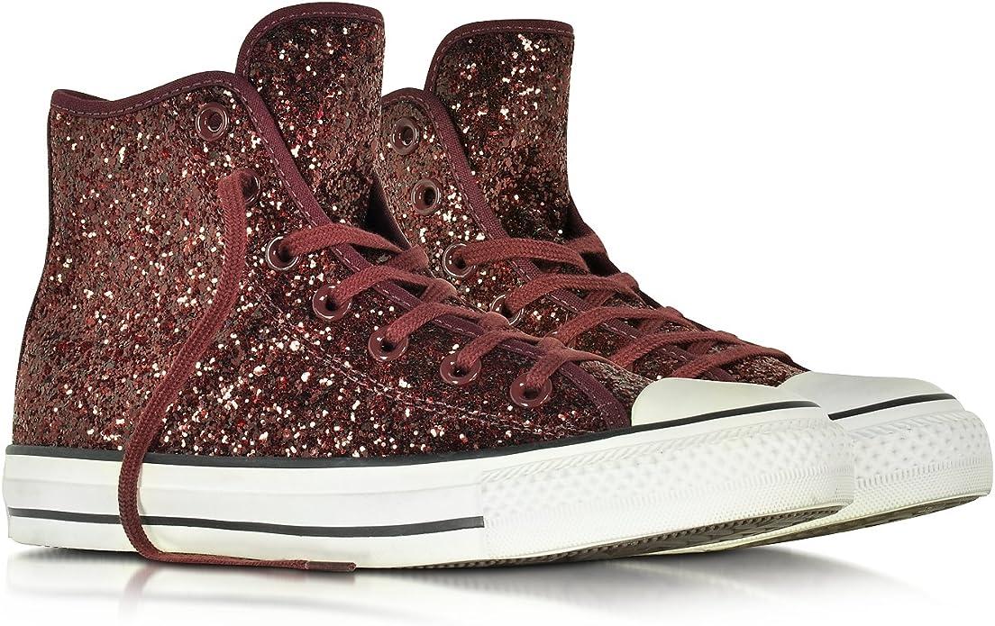 Converse Hi Top Sneakers Donna 555116C Glitter Bordeaux : Amazon ...