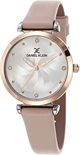 Daniel Klein Premium Alloy Case Genuine Leather Band Ladies Wrist Watch - Dk.1.12468-7, multicolor