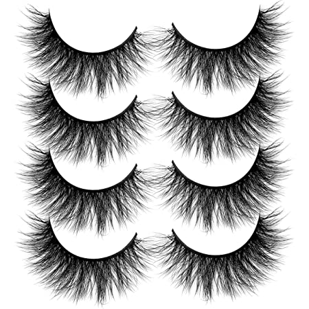 ALICROWN Faux Mink Lashes Pack 3D Volume Natural Fluffy Wispies Cross False Eyelashes