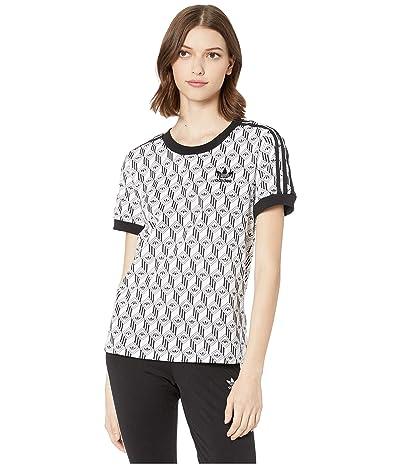 adidas Originals adiColor Monogram 3-Stripes Tee (Black/White) Women