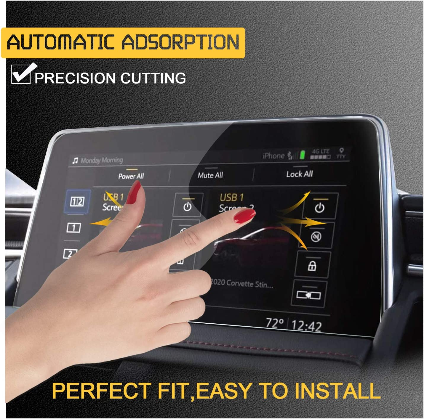 RUIYA 2PCS Center Touch Control Screen Protector for 2021 Chevrolet Tahoe Suburban 10.2INCH Infotainment 3 Plus/Car Navigation PET Anti-Scratch and Shock Resistant Touch Screen Protector