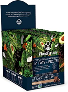 PlantFusion Complete Plant Based Keto Blend  1:1 Fats + Protein Powder Drink, Ketogenic Diet Supplement, MCTs, No Sugar, G...