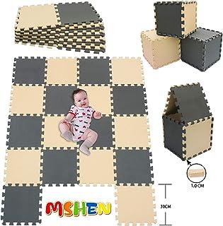 MSHEN18 Piezas Alfombra Puzzle Bebe con Certificado CE y certificación EVA | Puzzle Suelo Bebe | Puede ser Lavado Goma eva,Tamaño 1.62 Cuadrado,beige-gris-1012g18