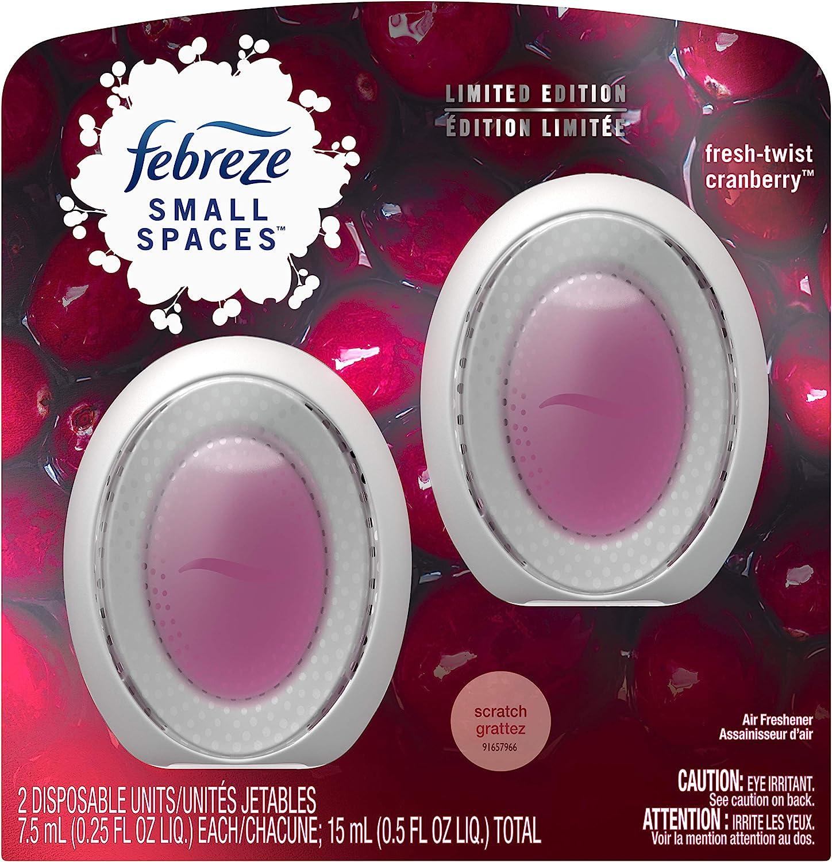 Febreze Small Spaces, Fresh - Twist Cranberry, 2 count