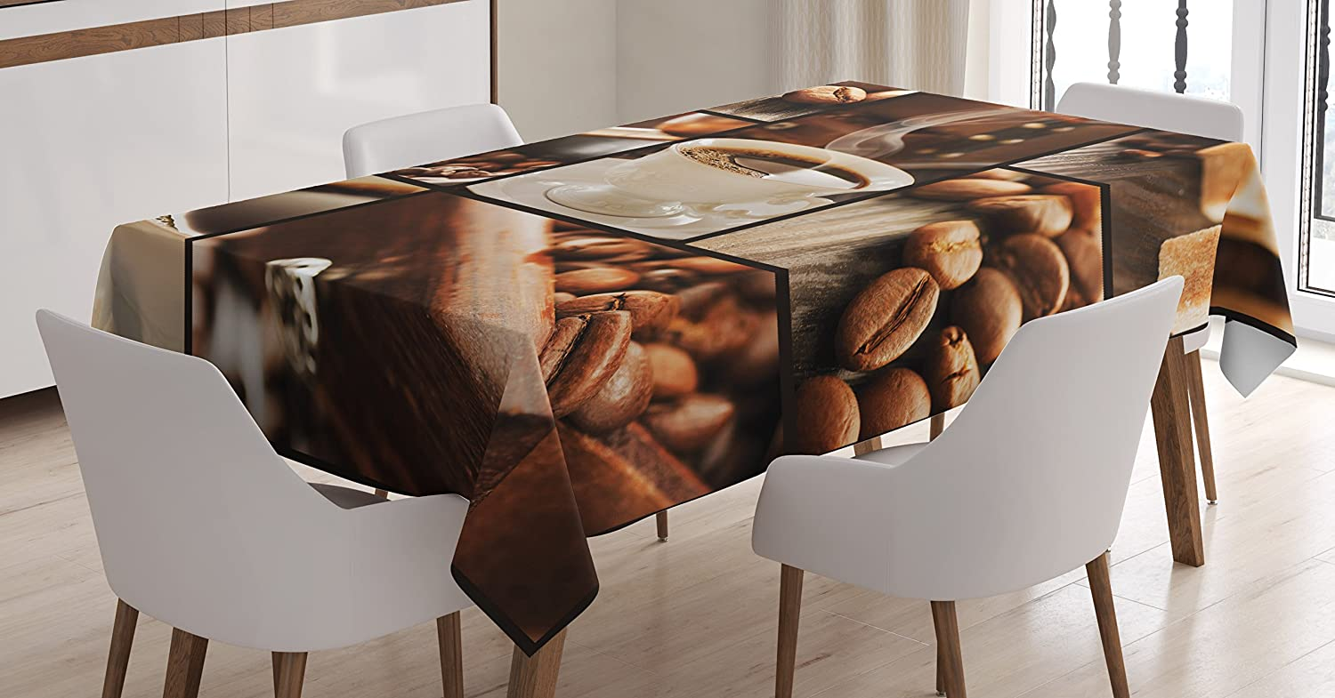 Ambesonne Now free shipping Brown Tablecloth Vintage Collage Max 60% OFF with Beans Coffee an