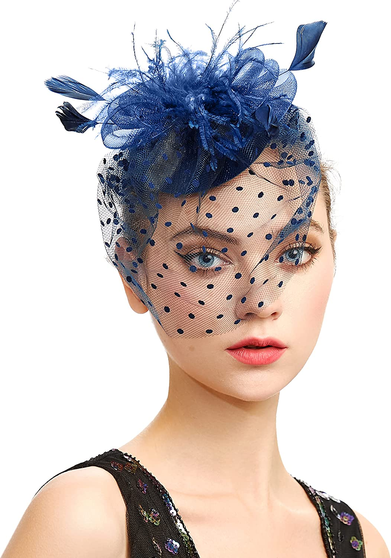 BABEYOND Veil Fascinator Hat for Women Tea Party Kentucky Derby