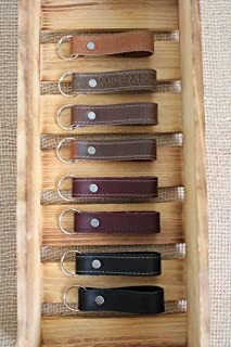 Monogram Personalized Leather Keychain, Leather Key Fob, Handmade in Oregon 8 colors