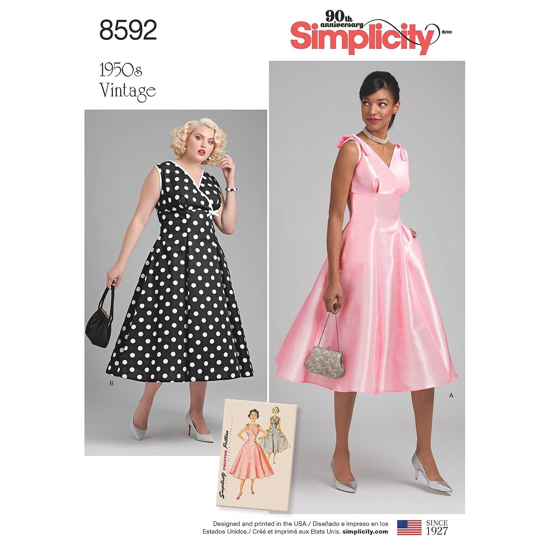 Simplicity Vintage US8592BB Sewing Pattern Dresses, BB (20W-28W), TAN