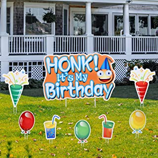 MUXYH Honk It's My Birthday Yard Sign - 8 Piece Set, Colorful Birthday Lawn Decoration Kit, Balloon, Cone and Drinks Style...