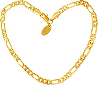 Lifetime Jewelry Gold Ankle Bracelets for Women Men & Teen Girls [ 24k Real Gold Plated 4mm Figaro Chain Anklet ] Beach or Party Foot Jewelry with Lifetime Replacement Guarantee 9 10 and 11 inches