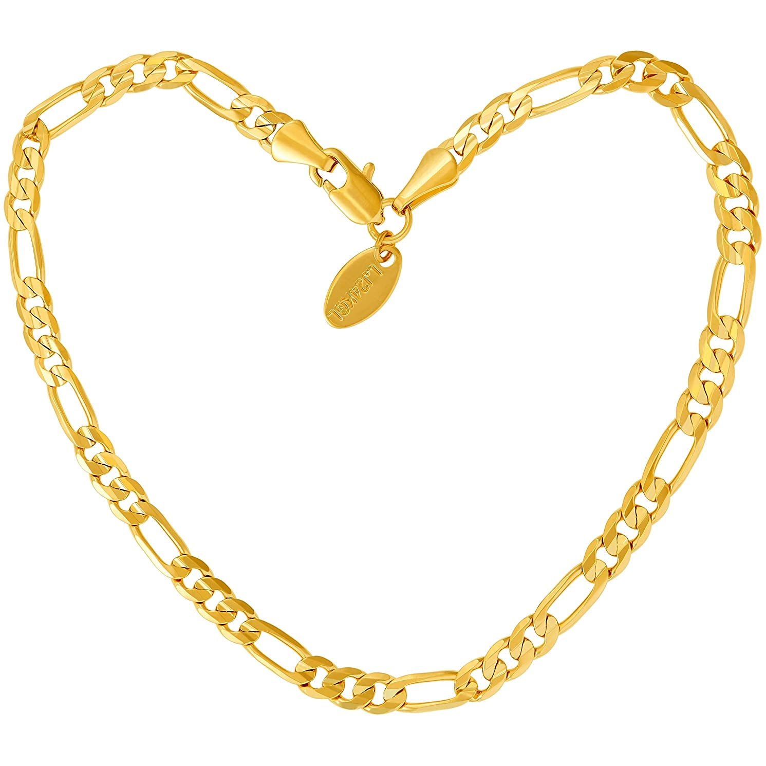Lifetime Jewelry Gold Ankle Bracelets for Women Men & Teen Girls [ 24k Real Gold Plated 4mm Figaro Chain Anklet ] Beach or Party Foot Jewelry with Free Lifetime Replacement Guarantee 9