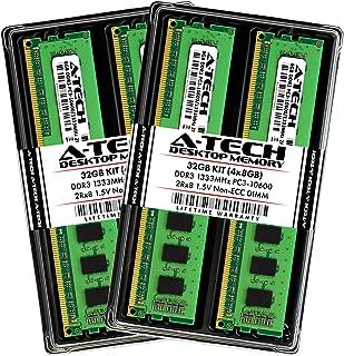 A-Tech 32GB DDR3 1333MHz Desktop Memory Kit (4 x 8GB) PC3-10600 Non-ECC Unbuffered DIMM 240-Pin 2Rx8 1.5V Dual Rank Computer RAM Upgrade Sticks