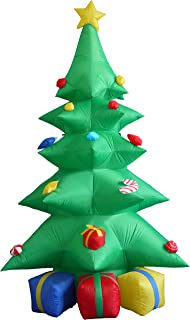 8 Foot Tall Lighted Christmas Inflatable Green Tree with Multicolored Gift Boxes and Star Indoor Outdoor Garden Yard Party...