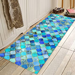 Moroccan Lattice Blue Print Memory Foam Bath Rugs and doormats Non Slip Absorbent Super Cozy Flannel Bathroom Rug Carpet 71 x 24 inches