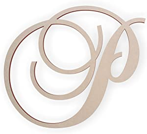 Jess and Jessica Wooden Letter P, Wooden Monogram Wall Hanging, Large Wooden Letters, Cursive Wood Letter