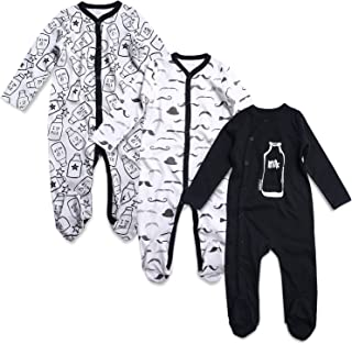 OPAWO Unisex Baby Bodysuits Long Sleeve Pack of 3 Newborn to 24 Months