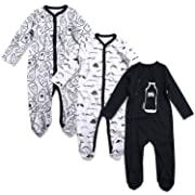 OPAWO Baby Boys' Footed Sleeper Pajamas 3 Pack Long Sleeve Footie Pjs 0-18 Months(6-9 Months, Milk+Beard)