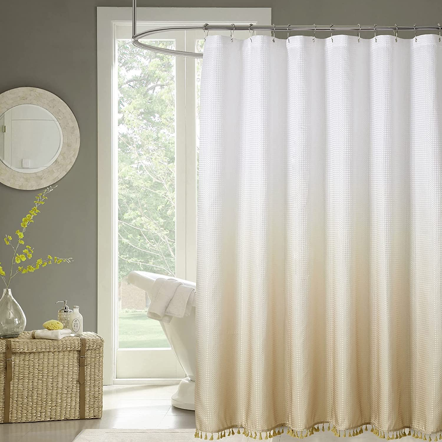 COSEVIER Ombre Choice sale Waffle Shower Curtain for Bathroom Mo with Tassel