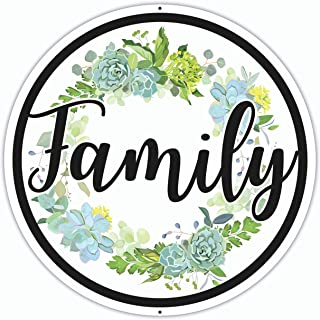 Family Sign - 12 x 12 Inches - Aluminum - Floral Design - Family Signs for Home Decor - Family Wall Decor for Living Room ...