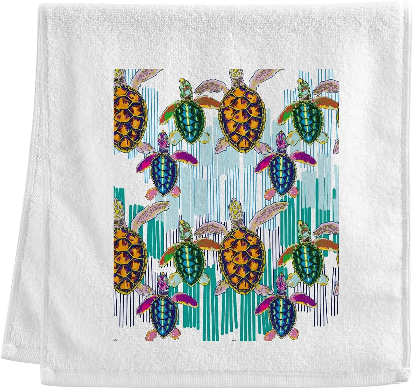 ALAZA 100% Cotton Hand Elegant Towel Sea Bath Sheet for Turtles Columbus Mall Softnes