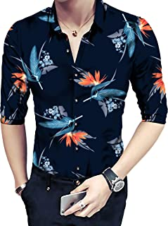 Radhe Digital Print Men's Floral Digital Printed Unstitched Full Sleeves Shirt Fabric (Multicolour, Free Size)
