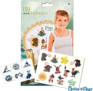 150 Disney Moana Tattoos (Double Amount)- Assorted Temporary Tattoos by Bottles N Bags