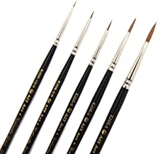AIT Art Premium Detail Brush Set, 5 Pure Kolinsky Russian Red Sable Paint Brushes, Handmade in USA, Best Quality Set for U...
