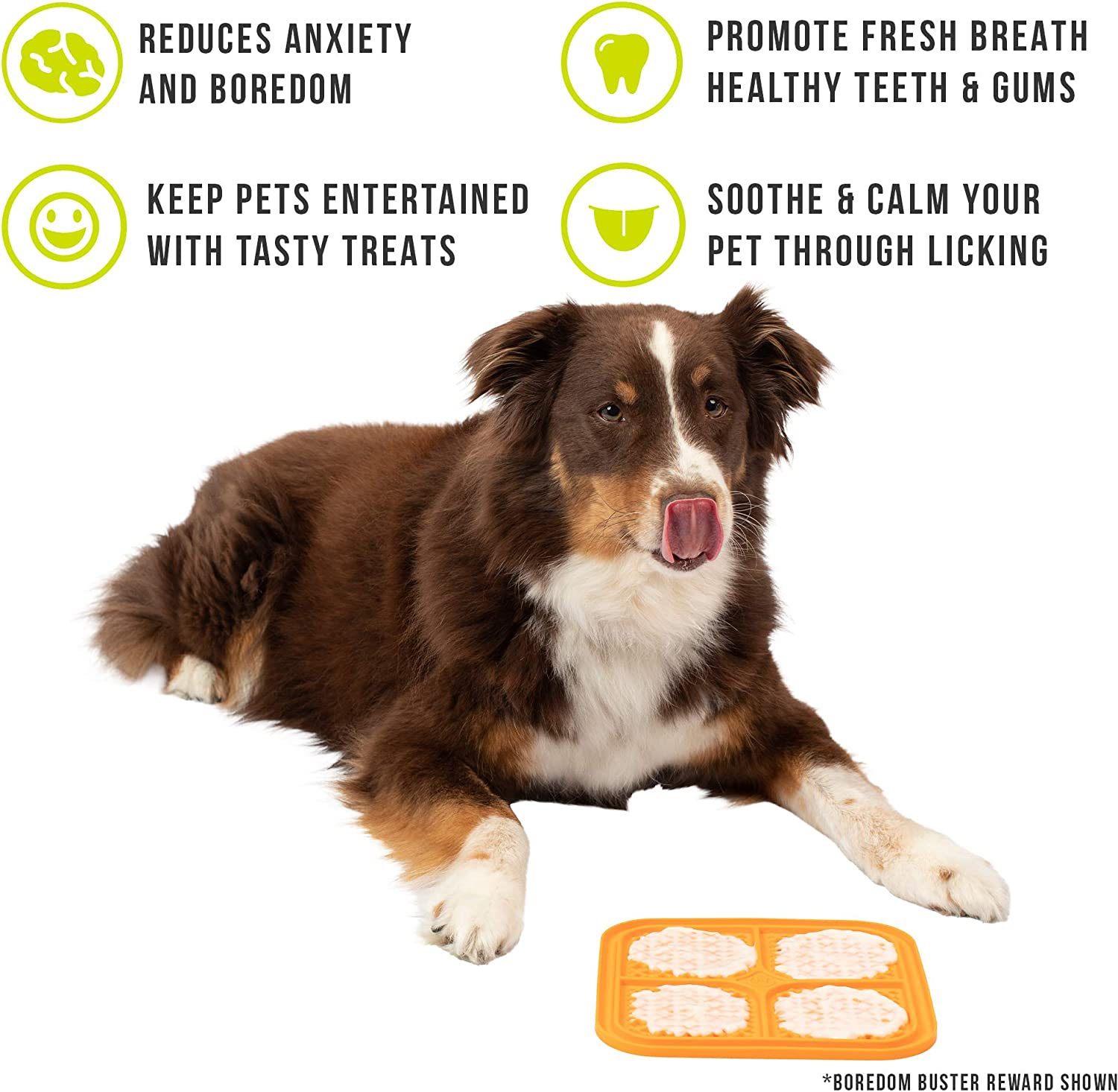 Calming Mat for Anxiety Relief Boredom Buster New Version, IQ Treat Mat | Fun Alternative to Slow Feeder Dog Bowls Hyper Pet Licking Mat for Dogs /& Cats | Made in U.S Just Add Healthy Treats