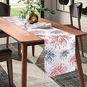 Sofevaim Fireworks 4th of July Patriotic Table Runner,72 Inches Long Tablecloth for American Independence Day Memorial Day,Dinner Dining Party Wedding Kitchen Home Tabletop Decor