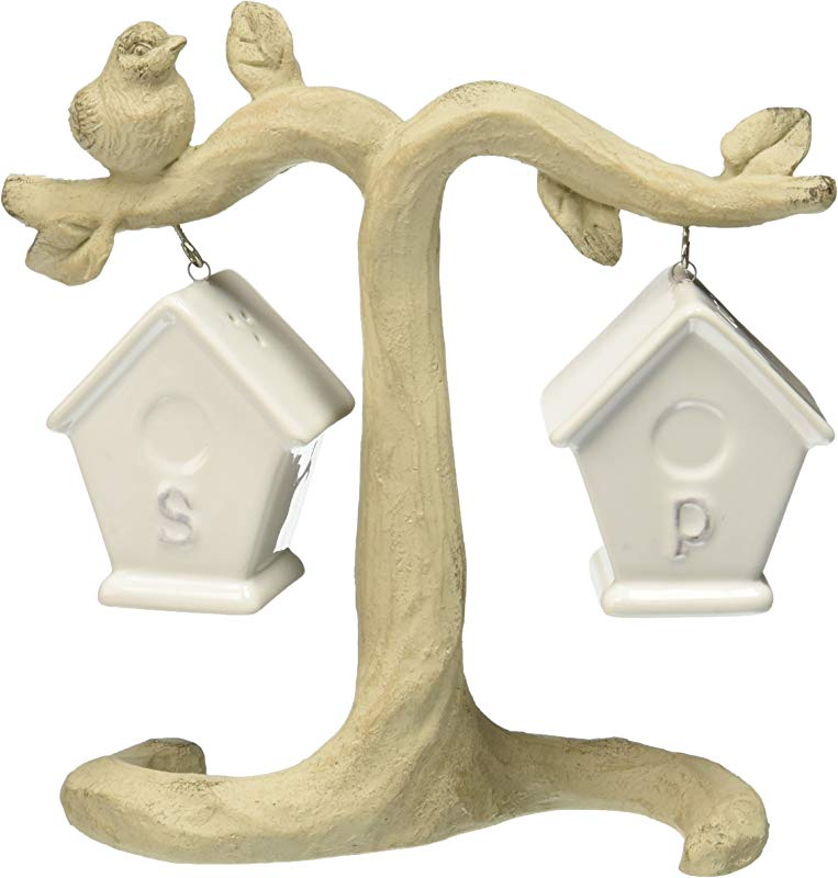 Abbott Collection Ceramic Bird House Salt And Pepper Shakers W Branch Stand 3 Pieces