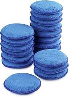 20PCS Car Care Wax Applicator Blue Ultra-Soft Microfiber Wax Applicator Pads 5 Inch Microfiber Foam Sponge Applicators Foam Waxing Pad And Cleaning Pads for Cars Wax