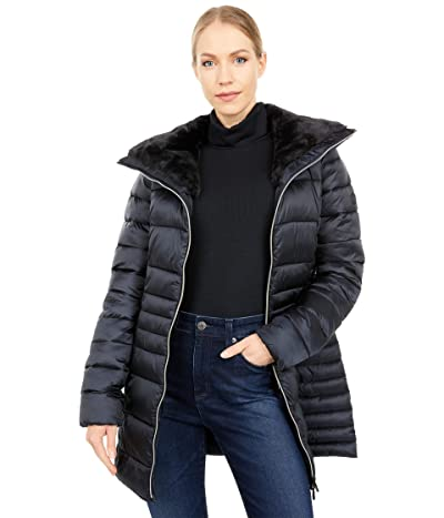 Save the Duck Iris Shiny Iridescent Faux Fur Lined Puffer Coat (Black) Women