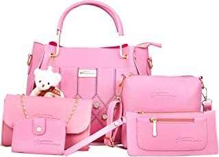 Shining Star Women's Handbag with Sling Bag and Clutch - Set of 5