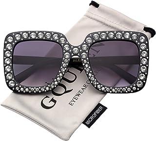 GQUEEN S063 Oversized Women's Sunglasses Rectangular Frame Sparkling Crystal Brand Designer Stylish Glasses