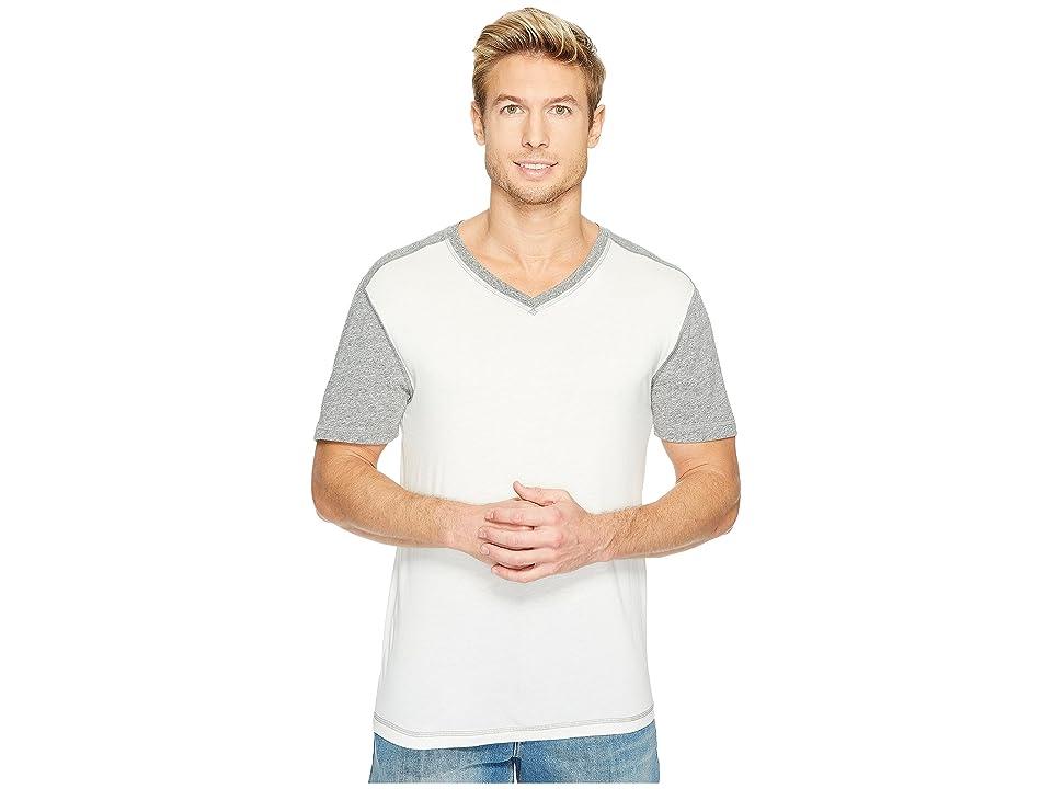 Agave Denim Darren Short Sleeve Color Block V-Neck Tee (White) Men