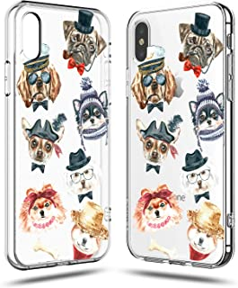 iPhone XR Case,Cool Girls Puppy Funny Cute Cartoon Dog Alaskan Malamute Labrador Retriever French Bulldog Dogs Attitude Animal Hipster Girls Clear Soft Case Compatible for iPhone XR
