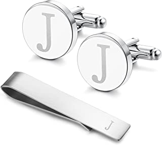 Stainless Steel Engraved Initial Cufflinks and Tie Clip Bar Set Alphabet Letter with Gift Box A-Z