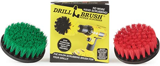 Drill Brush - Indoor/Outdoor Medium and Stiff 4-inch Round - Spin Brush - Combo Kit - Cleaning Supplies - Stove, Oven, Sin...