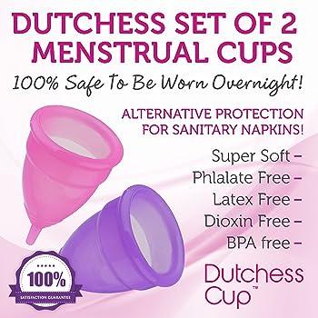 Dutchess Menstrual Authentic Original Cups Set of 2 with Free Bags - Small (B) - No 1 Economical Feminine Alternative...