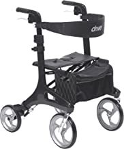 Drive Medical Nitro Elite CF Carbon Fiber Walker Rollator, Black